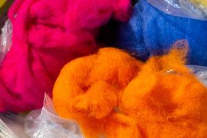 Orange Pink and Blue Coloured Hessian Wool